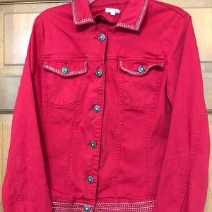 Red embellished Jean jacket
